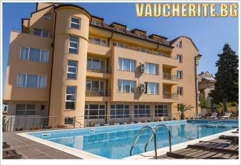 Нощувка със закуска и вечеря или закуска, обяд и вечеря + позлване басейн и СПА от хотел Вила Амброзия, Черноморец