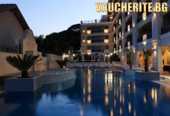Нощувка със закуска + ползване на открит басейн с чадъри и шезлонги около него и релакс зона от хотел Пенелопа Палас, Поморие