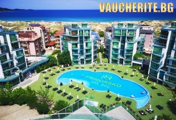 LAST MINUTE - 40% до 14.08.20г. ULTRA All inclusive + външен басейн,  чадъри и шезлонги около басейна и на плажа от хотел Приморско дел Сол, Приморско