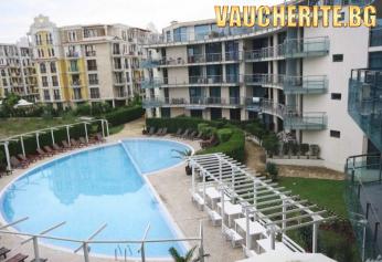 All Inclusive + ползване на външен басейн с шезлонг и чадър, детски кът и паркинг от хотел Синя Ривиера, Слънчев бряг