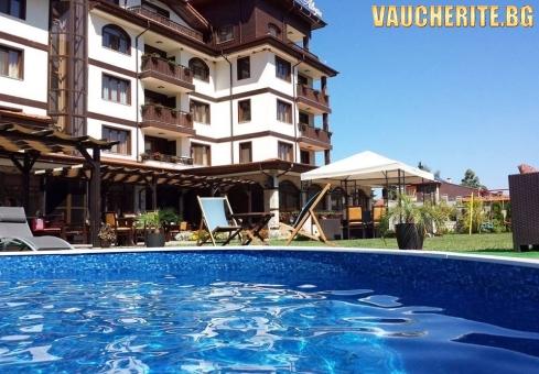 Закуски или закуски и вечери + външен и вътрешен басейн с минерална вода, сауна и парна баня от Семеен хотел Алегра, Велинград