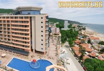 Ultra All Inclusive + външен и ВЪТРЕШЕН басейн, чадър и шезлонг НА ПЛАЖА и анимация от хотел Астера, Златни пясъци, на 150м от плажа