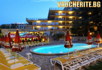 Закуска, закуска и вечеря или закуска, обяд и вечеря + басейн, фитнес и паркинг от хотел Градина, Златни Пясъци, на 200м от плажа