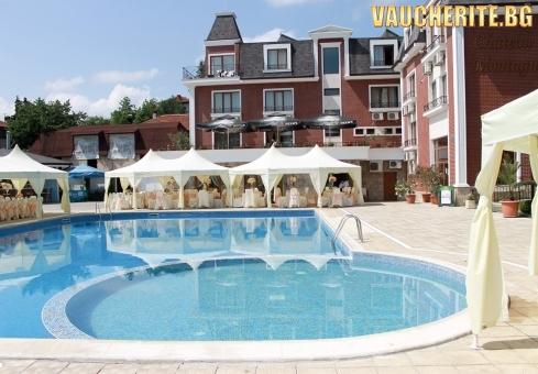 Закуски и вечери или закуски, обеди и вечери + външен и вътрешен басейн, сауна и фитнес от хотел Шато Монтан, Троян
